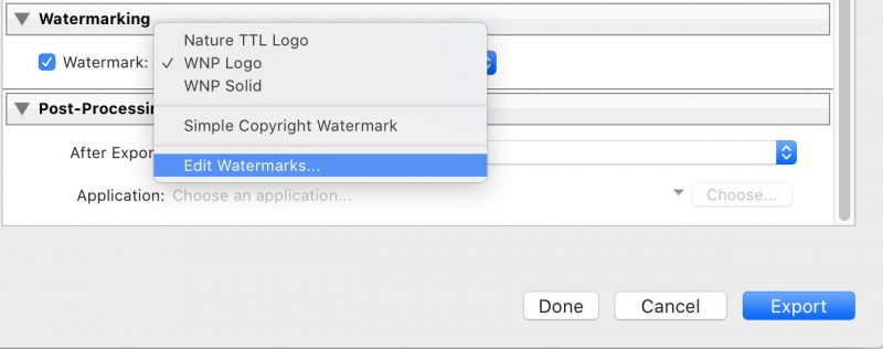 how to watermark a photo in Lightroom