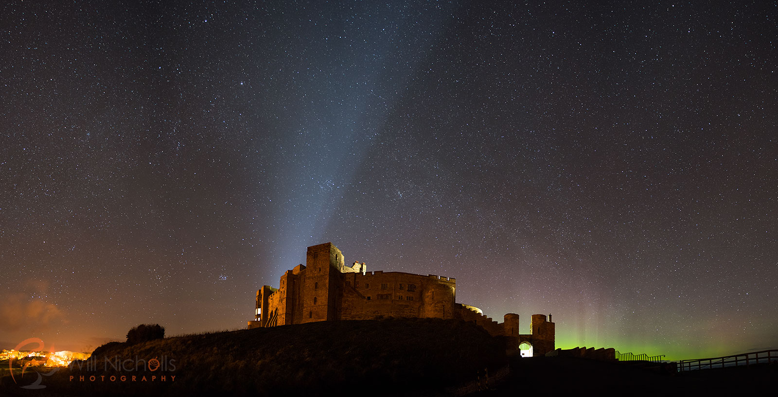 The Aurora Borealis above Bamburgh Castle in Northumberland.