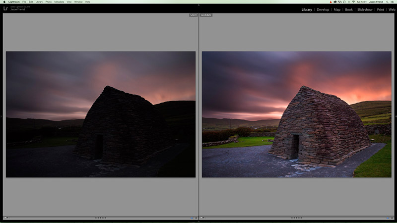 Screenshot of images in Lightroom