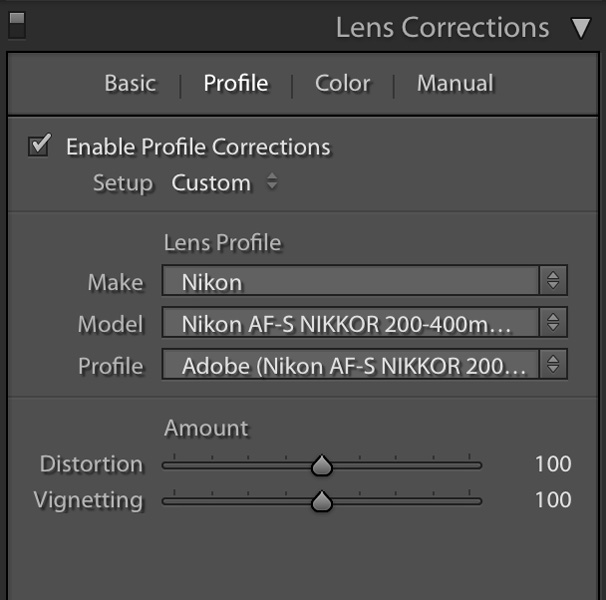 how to remove vignetting in lightroom
