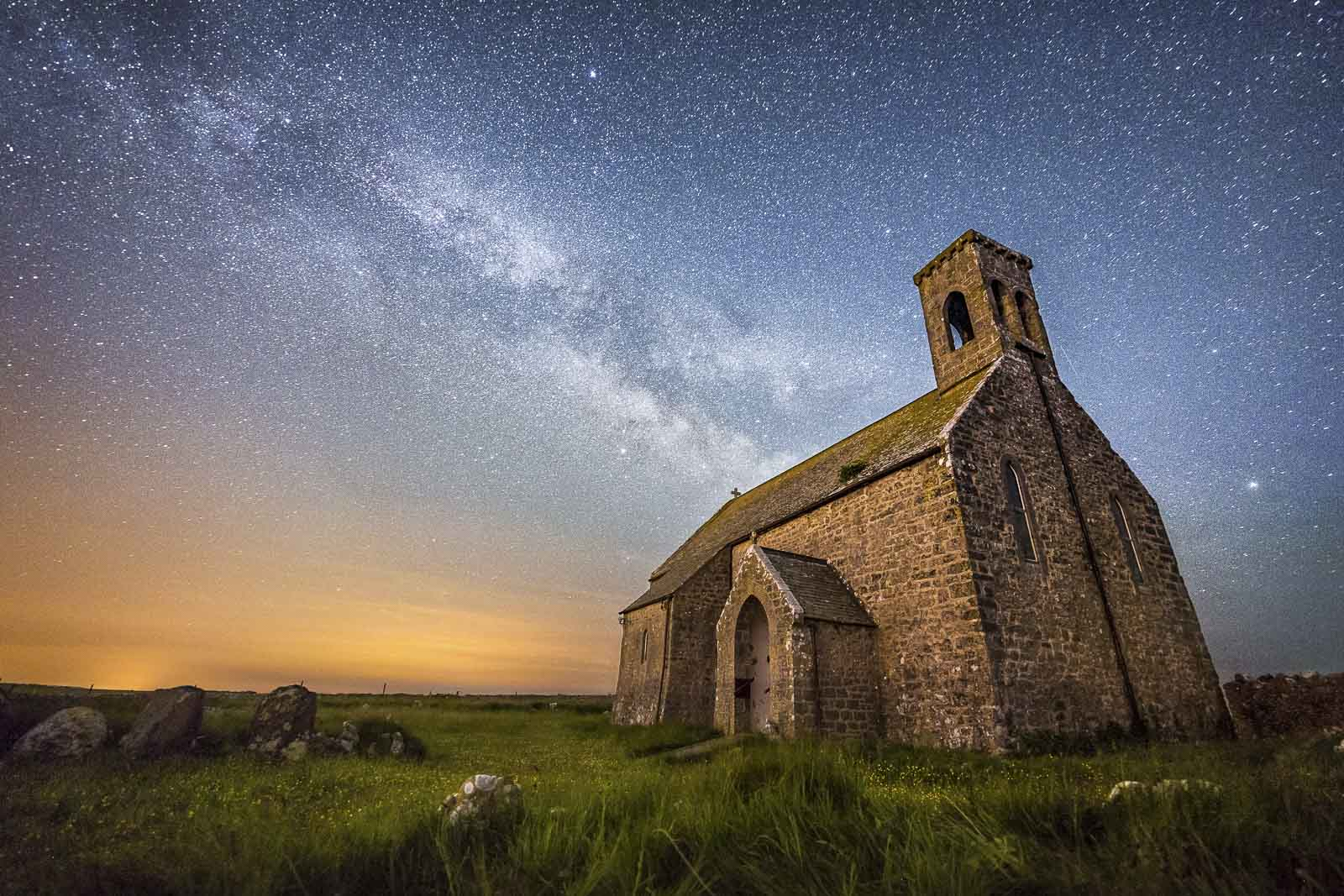 Milky way galaxy above church