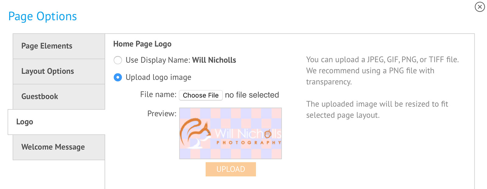 zenfolio logo upload