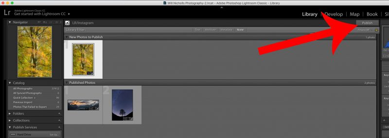 upload photos to instagram from lightroom