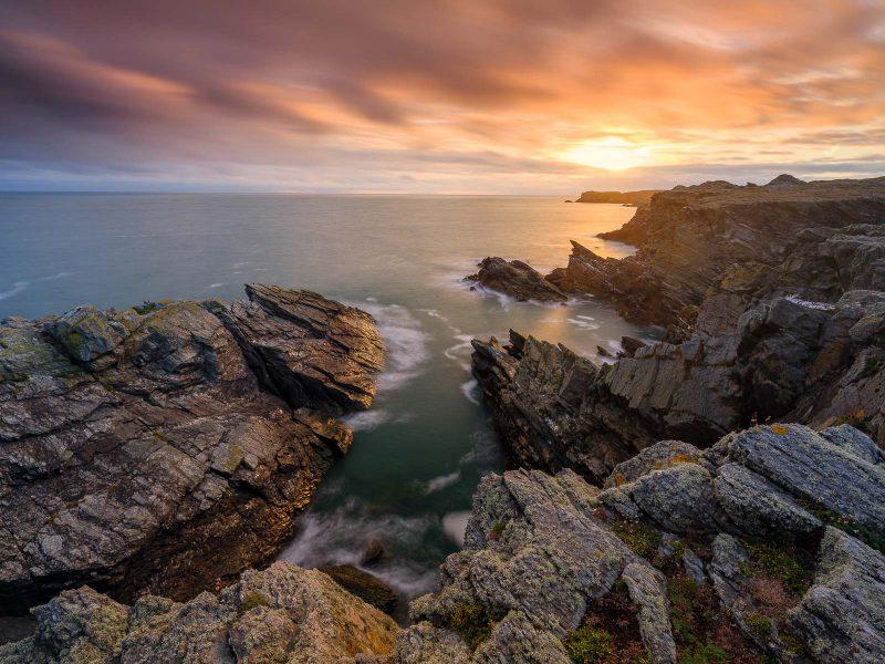 Coastal landscape at golden hour