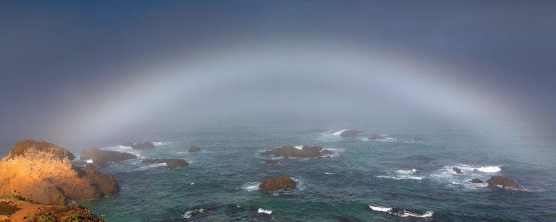 fogbow over sea