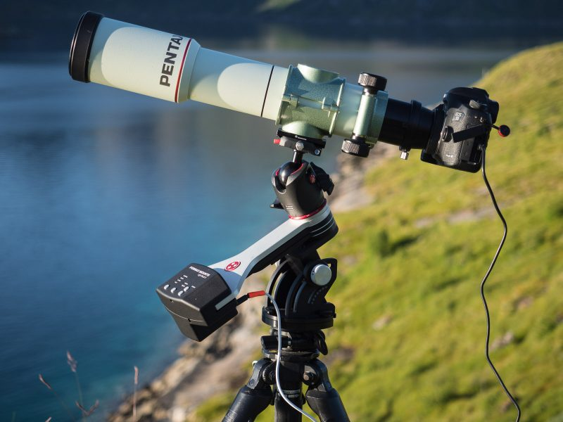 My Pentax 75 SDHF telescope on top of my trusty Fornax Mounts LighTrack II star tracker.