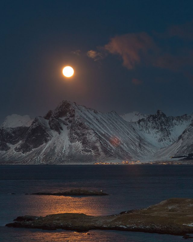 The Full Moon above the Lofoten Islands.
