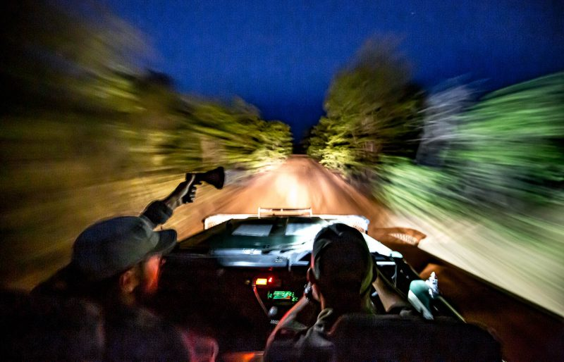 Photographers look for Wildlife on a Night Safari in Africa