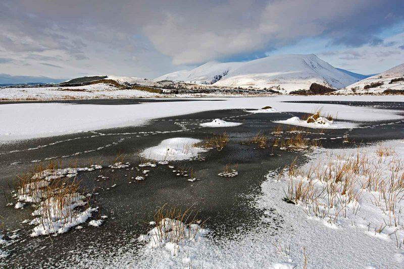 animal footprints on a frozen Tewet Tarn