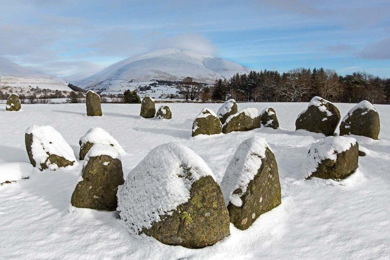 virgin snow around Castlerigg Stone Circle