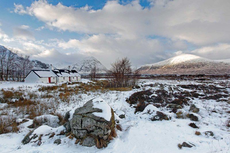 Blackrock Cottage landscape in winter covered in snow