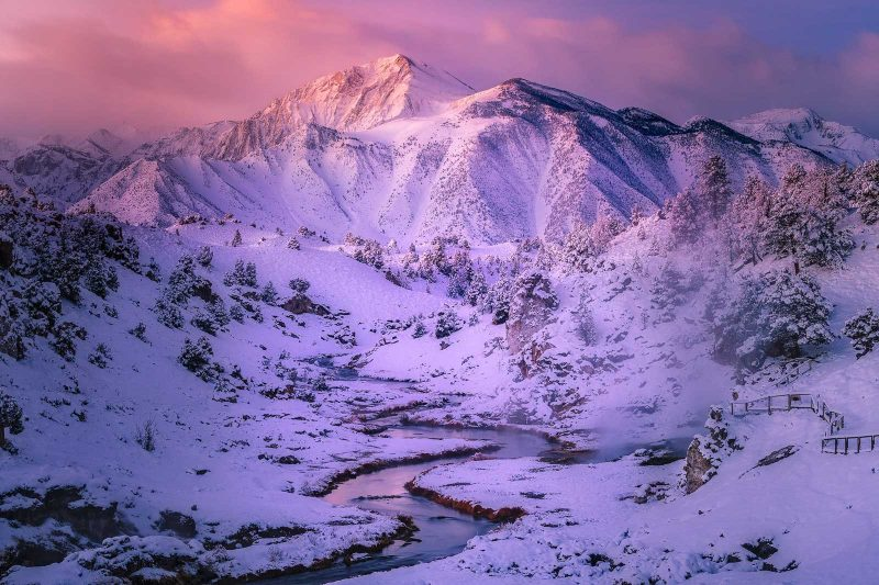 Snow covered mountains landscape