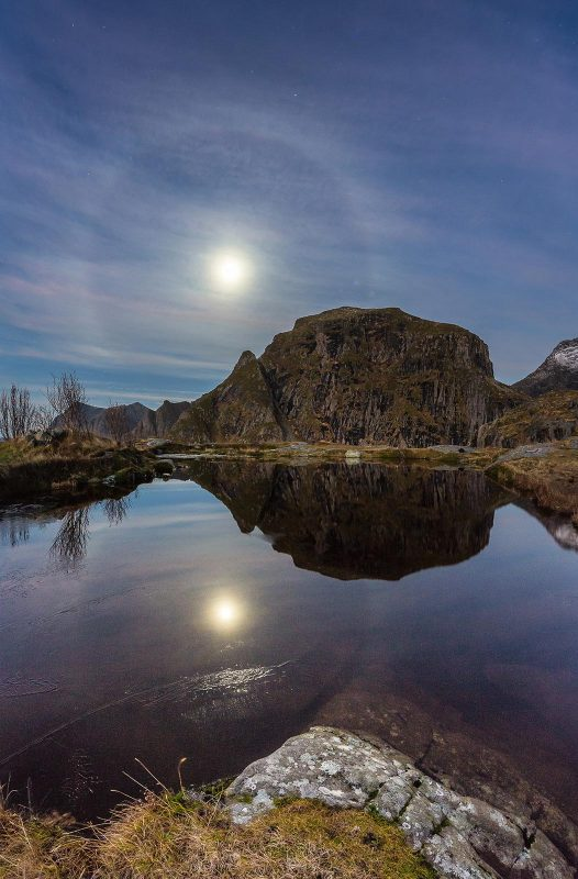 moon halo over mountain and reflected in a lake