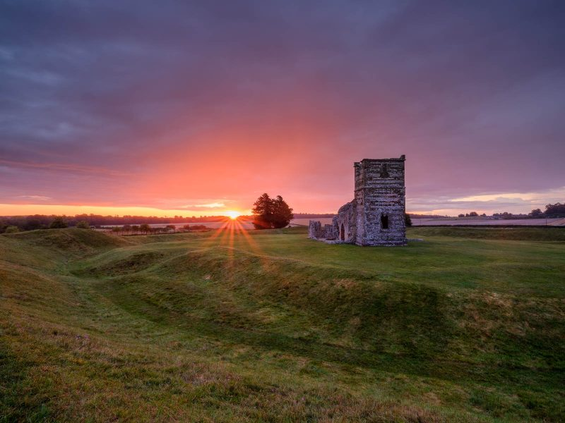 Summer sunrise at Knowlton church