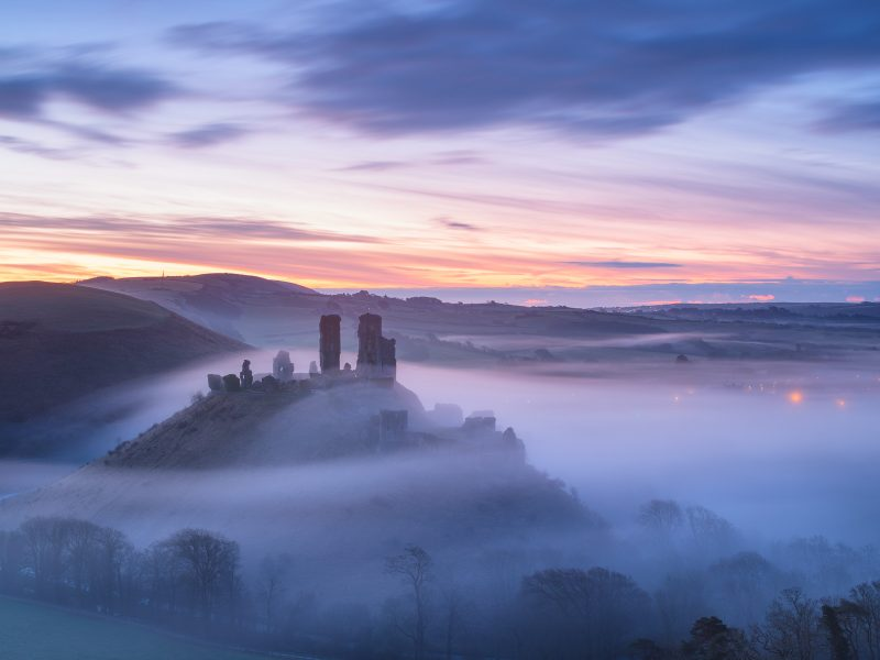Blue hour mist at Corfe Castle