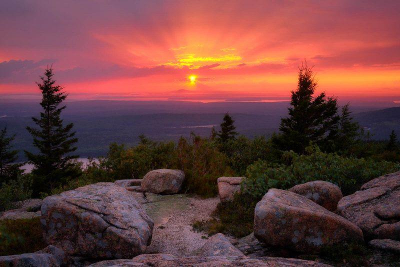 cadillac mountain rays landscape