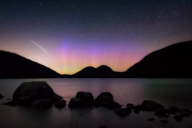 aurora and shooting star landscape