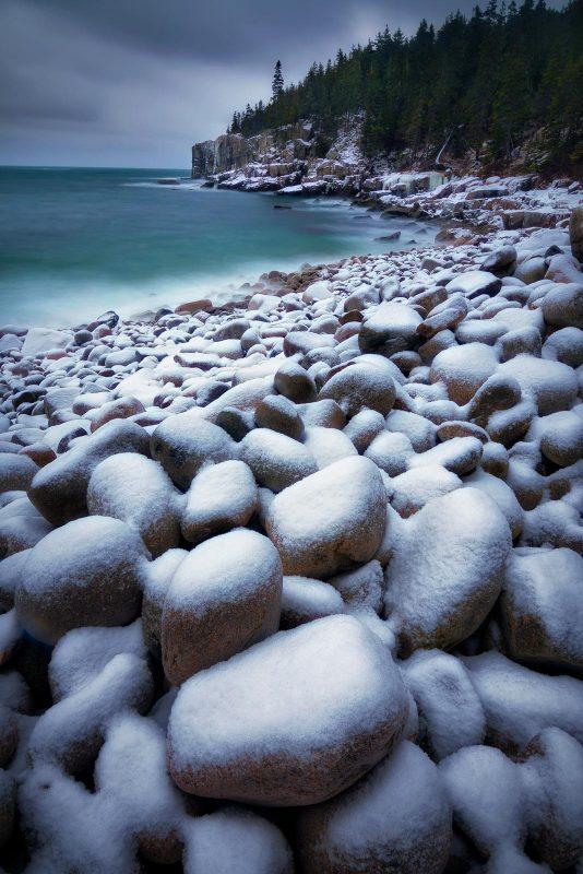 Boulder beach snow