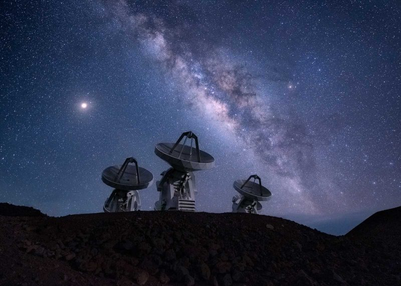 Star photography equipment: Milky Way with telescopes.