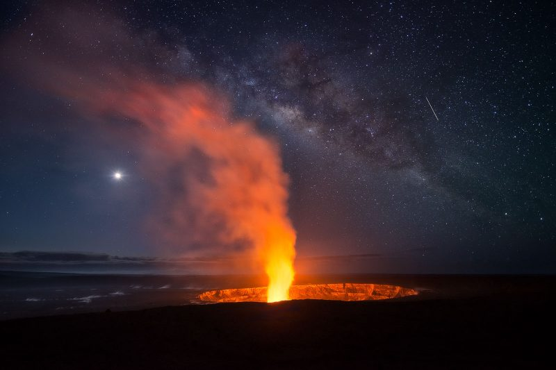 Milky Way over Volcano star photography