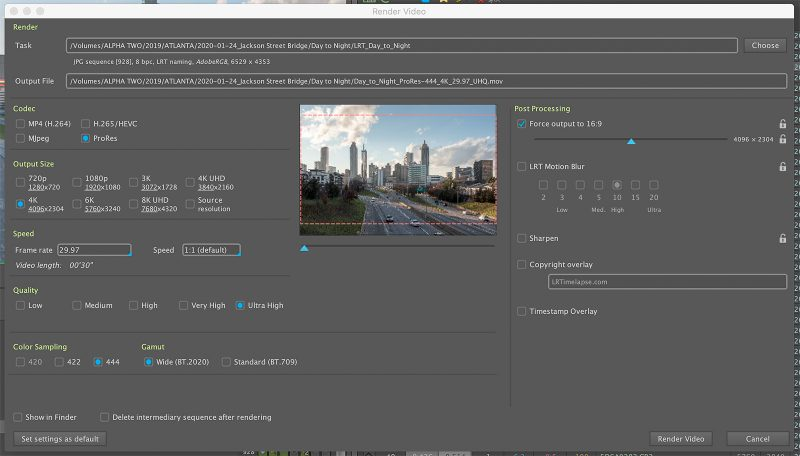 "The ""Render Video"" dialog in LRTimelapse"