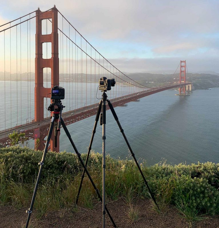 2 tripods at the Golden Gate Bridge