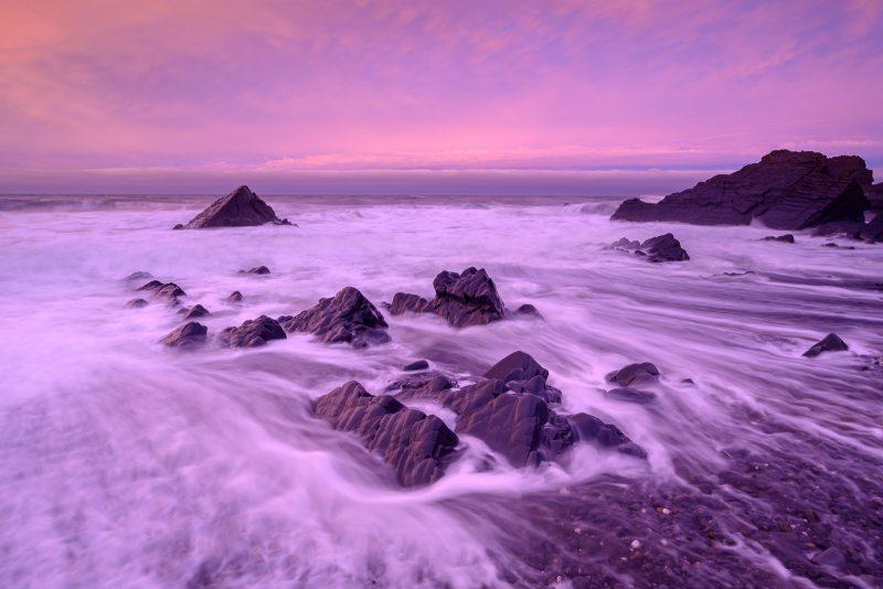 Coastal landscape at dusk