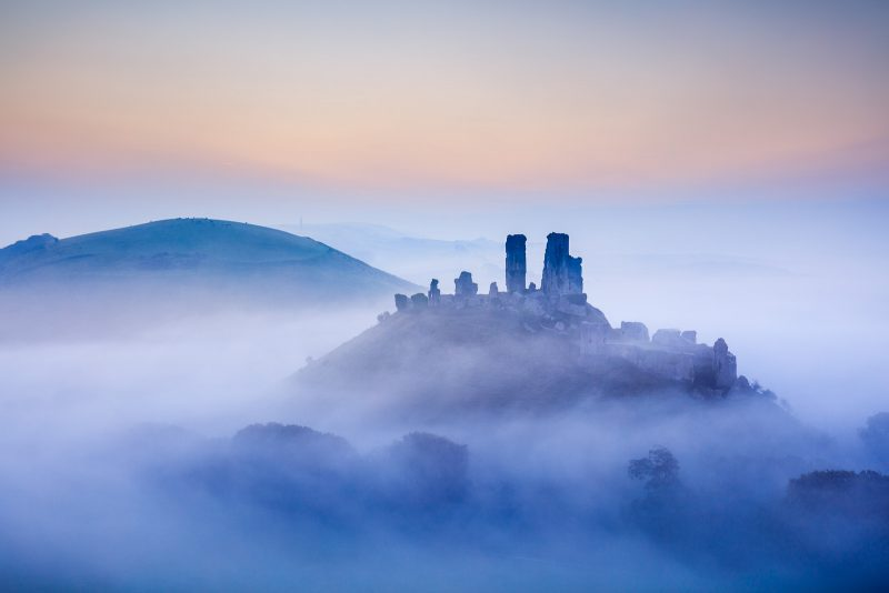 Corfe castle landscape in blue hour