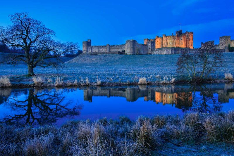 Castle landscape in blue hour