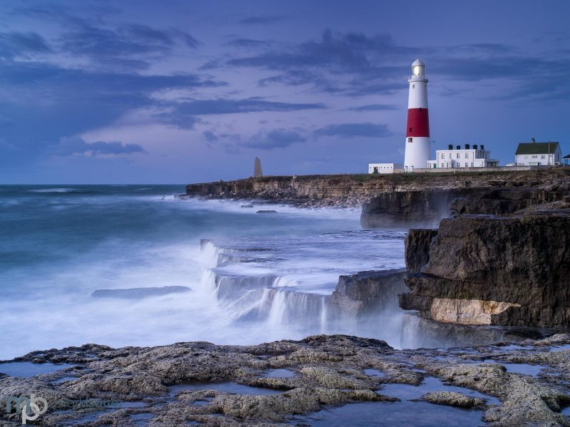 Portland bill lighthouse landscape at blue hour