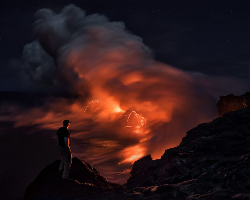 mad looks down on a live volcano