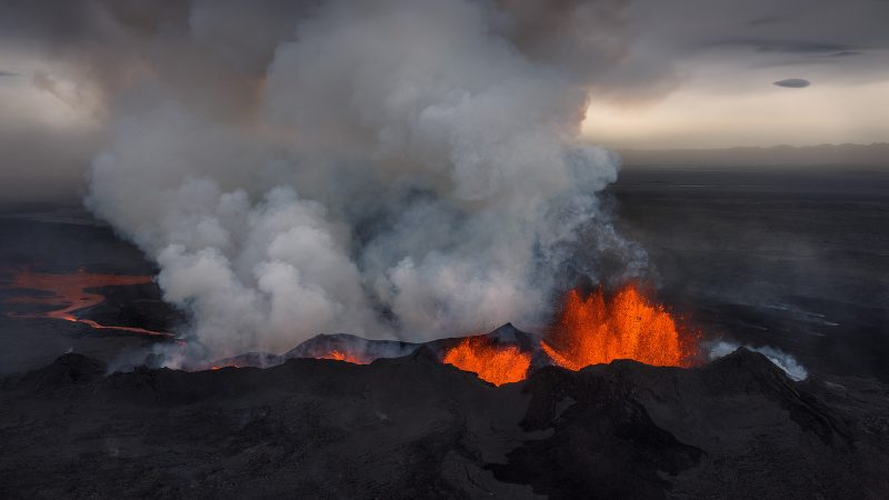 Active volcano from the air