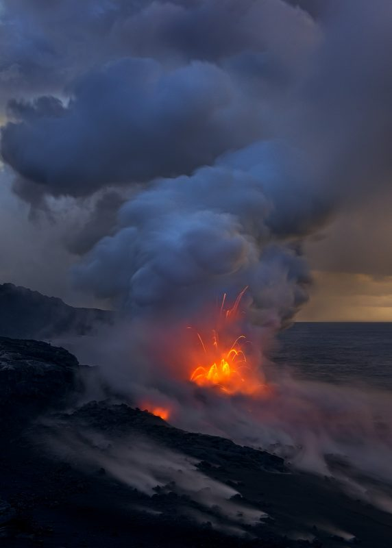 lava spits by the sea