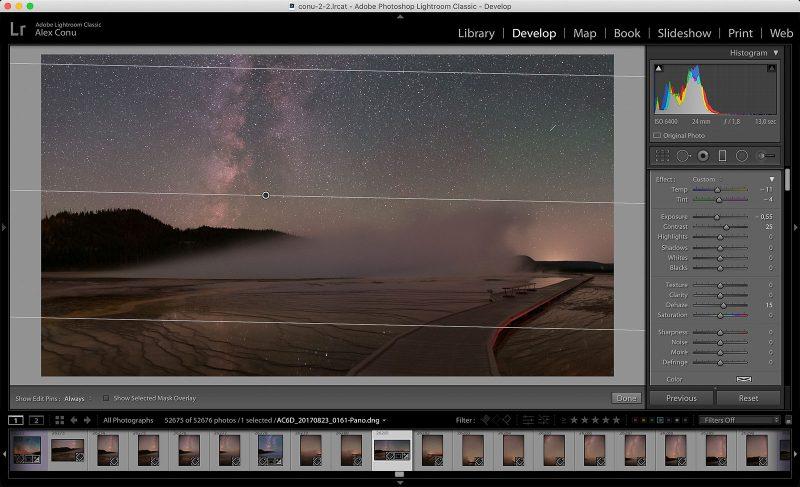 Lightroom edit of milky way landscape