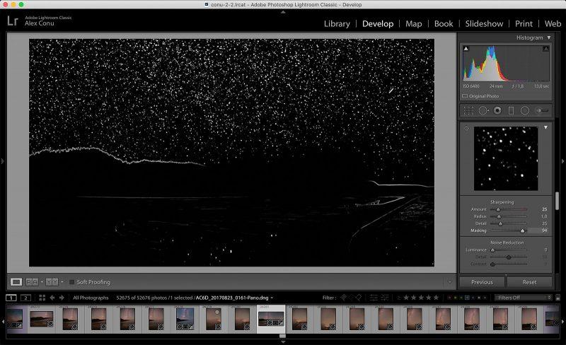 Sharpening mask edit of milky way landscape