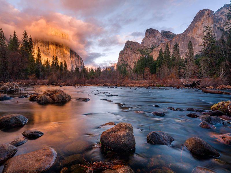 Yosemite landscape at golden hour