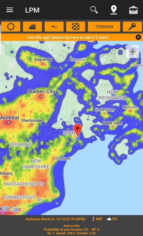 Light Pollution Map App