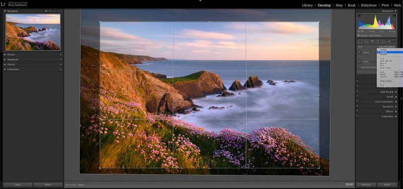 Cropping a landscape in lightroom