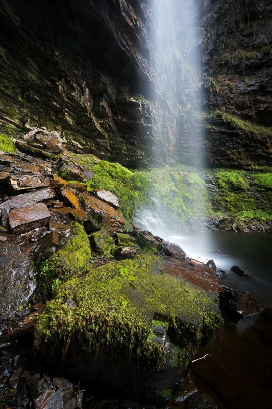 Slow shutter speed of a waterfall using an ND filter