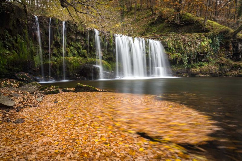 Waterfall photography in autumn