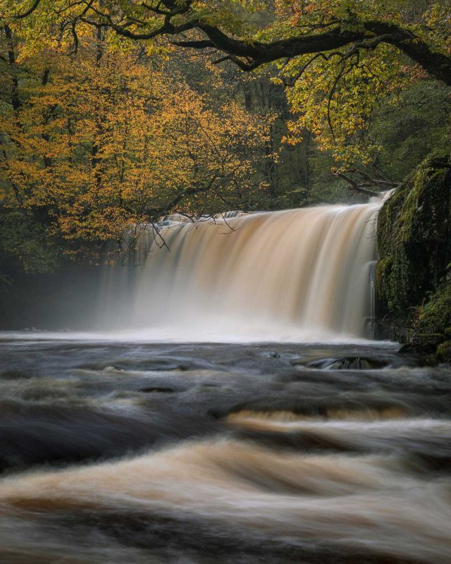 Autumn waterfall scene