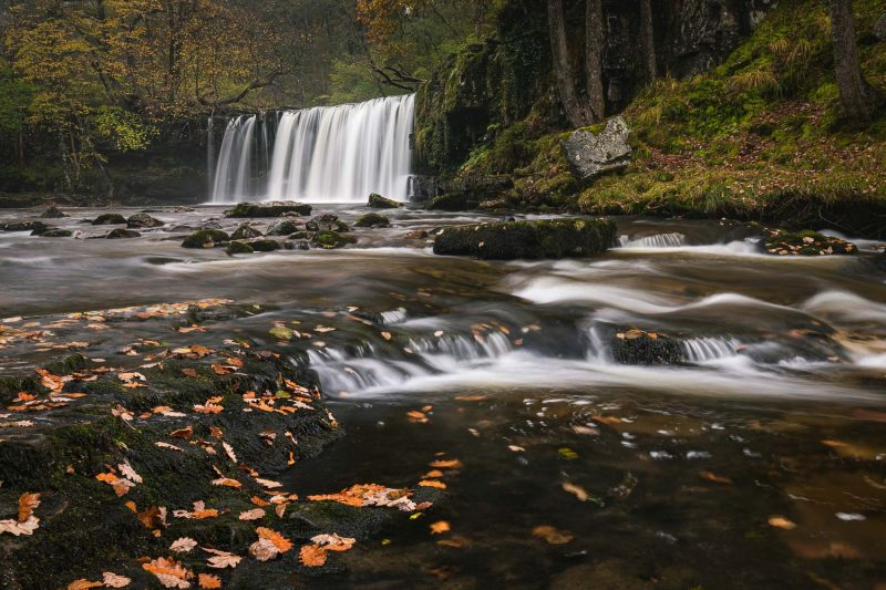 Slow shutter speed waterfall landscape