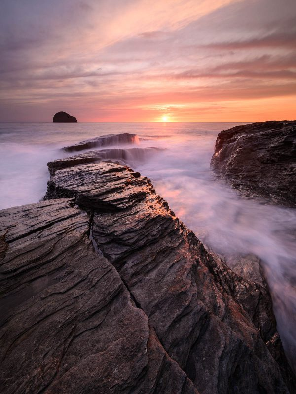 Trebarwith Strand, high tide at sunset