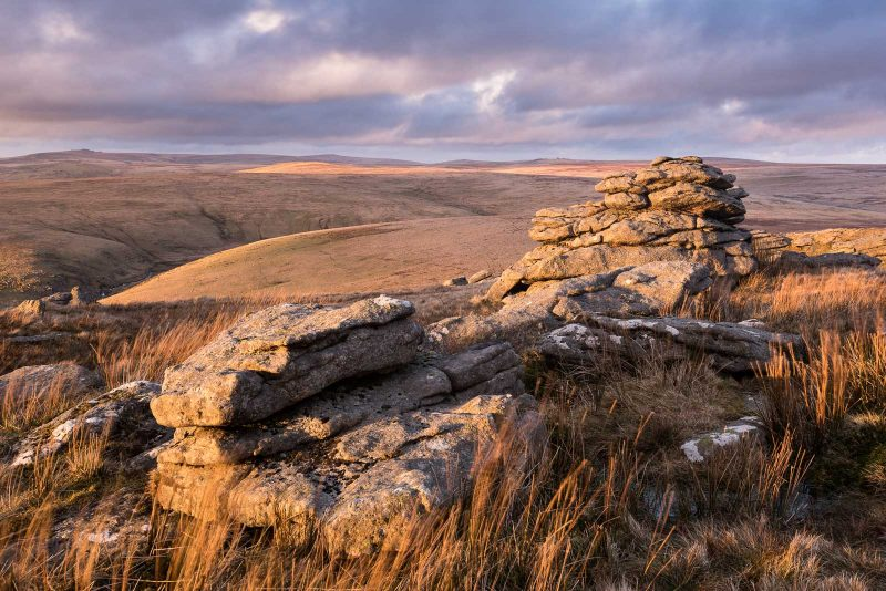 Late light and moorland view at Great Mis Tor
