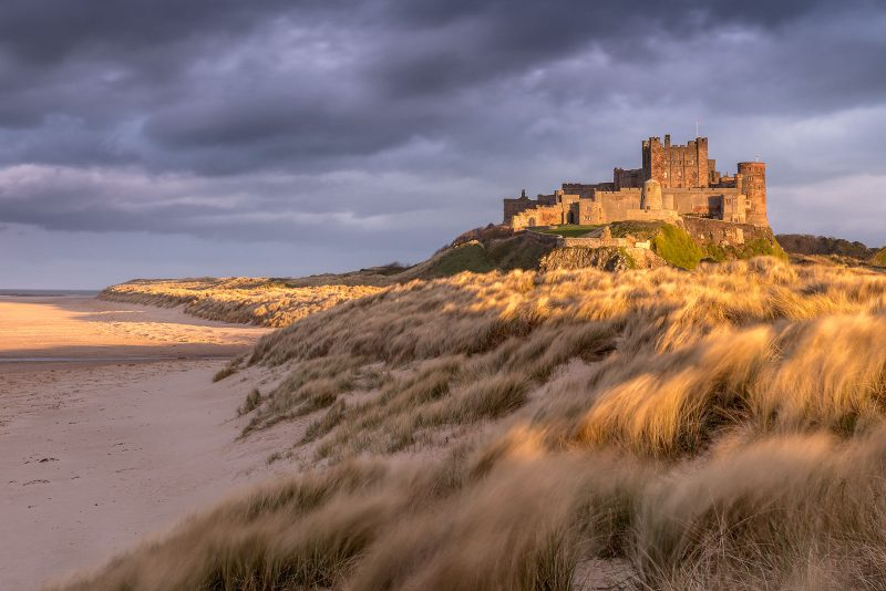 Bamburgh Castle taken from the sand dunes