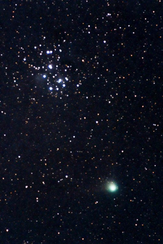 Comet Machholz passing by the Pleiades