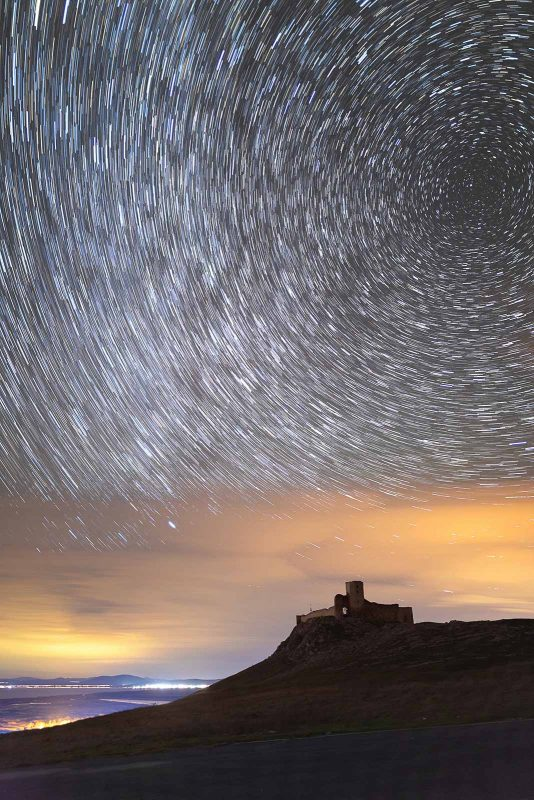 Star trails above the fortress at Enisala