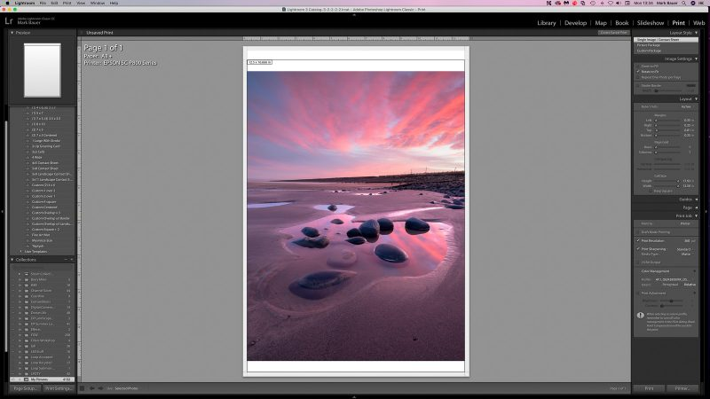 Proof copy view for printing in lightroom