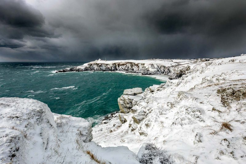 The lizard, cornwall, covered in snow