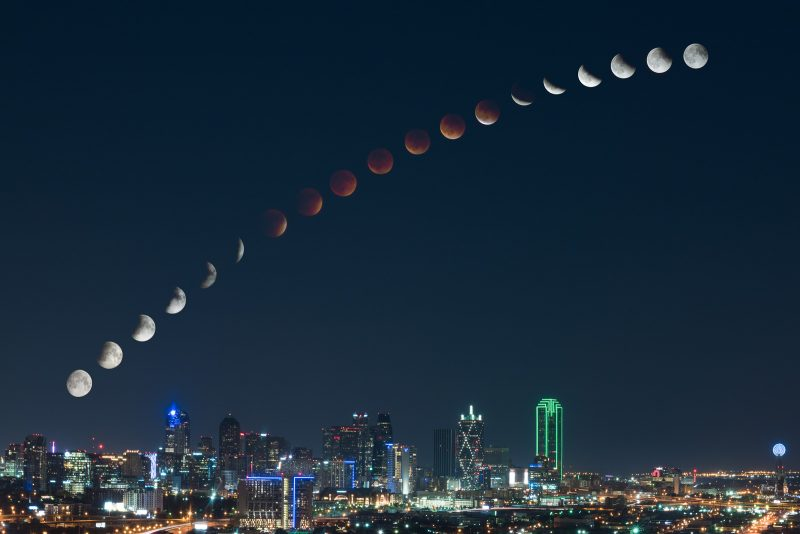 Moon sequence over city